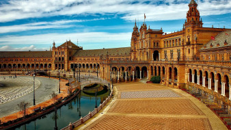 города, севилья , испания, канал, мостик