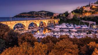мост, гавань, пристань, яхты