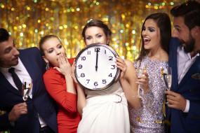 праздник, бокалы, компания, друзья, часы