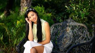кресло, азиатка, сад, украшение, улыбка, поза