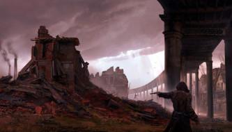 обои для рабочего стола 1920x1096 видео игры, assassin`s creed,  syndicate, человек, оружие, развалины, трубы, акведук, дома