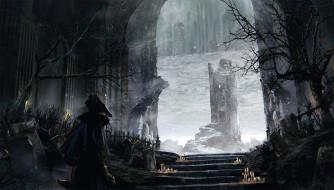 Souls обои для рабочего стола 1920x1095 souls, видео игры, ---другое, человек, могилы, ступени, свечи, арка, замок