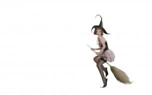 ведьма, девушка, шляпа, метла