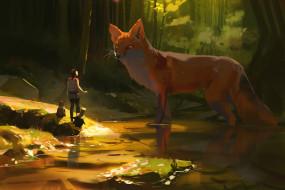 фэнтези, существа, лис, девушка, лес, озеро