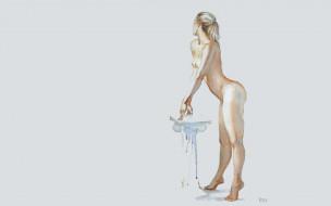 эро-графика, рисованные, девушка, блондинка