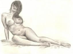 эро-графика, рисованные, девушка, карандаш, фон, грудь