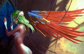 эро-графика, видео игры, девушка, фон, крылья