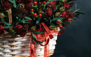обои для рабочего стола 2560x1600 цветы, букеты,  композиции, корзинка, розы, букет