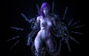 эро-графика, существа, девушка, фон, взгляд, грудь, оружие