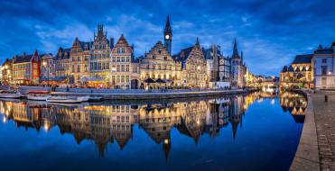 города, гент , бельгия, канал, мост, вечер, огни