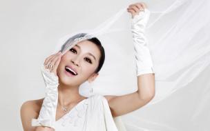 перчатки, фата, белое, платье, азиатка, невеста