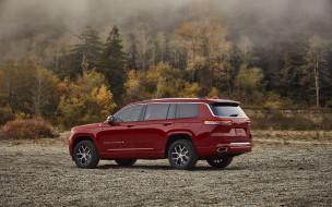 2021 jeep grand cherokee, автомобили, jeep, 2021, grand, cherokee, вид, сзади, экстерьер, красный, внедорожник, новый, американские, природа