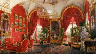 интерьер, дворцы,  музеи, люстра, канделябры, шторы