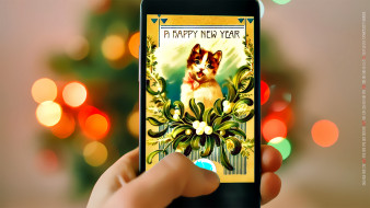 смартфон, боке, новогодний