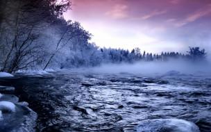 река, деревья, снег, лед