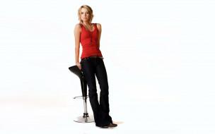 девушки, alexz johnson, блондинка, майка, джинсы, стул