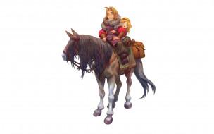 рисованное, комиксы, дети, лошадь