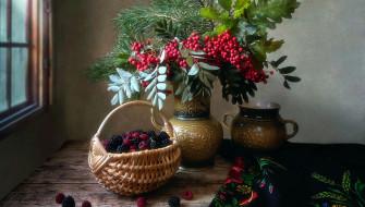 еда, фрукты,  ягоды, малина, ежевика, рябина