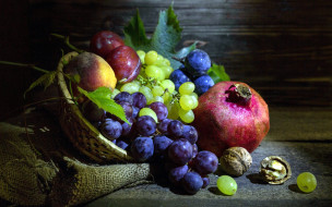 еда, фрукты,  ягоды, гранат, виноград, слива