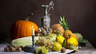 еда, натюрморт, тыква, виноград, мак, ананас, орехи