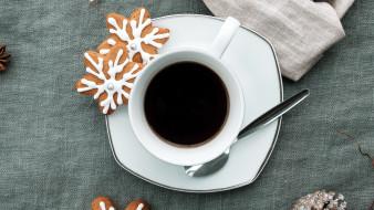 еда, кофе,  кофейные зёрна, чашка, печенье