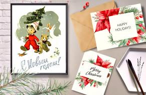 новогодний, фон, открытка