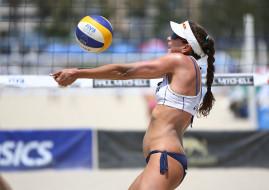пляжный волейбол, спорт, волейбол, пляжный, мяч, спортсменка
