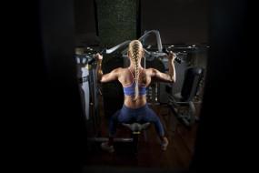 спорт, body building, спортивная, одежда, спортзал, тренажер, блондинка, спина