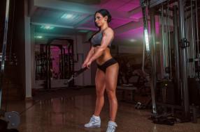 спорт, body building, бодибилдер, фитнесс, девушка, тренажер