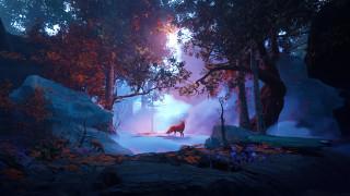 3д графика, животные , animals, лисы, лес, осень