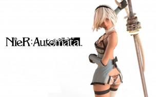 видео игры, nier,  automata, девушка, фон, взгляд