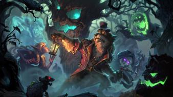 видео игры, hearthstone,  the witchwood, лес, монстры, пес, фонарь, страх