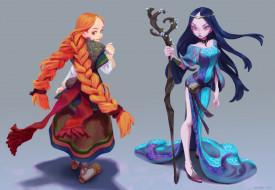 видео игры, ---другое, девушки, косы, посох