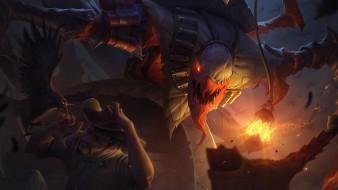 видео игры, league of legends, fiddlesticks, фонарь, человек, ворон
