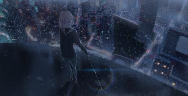 kuen, аниме, город,  улицы,  интерьер,  здания