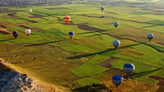 обои для рабочего стола 1920x1080 авиация, воздушные шары дирижабли, поля, воздушные, шары, полет