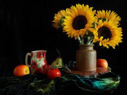еда, натюрморт, подсолнухи, помидоры, яблоки, груша