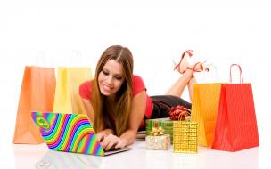 девушки, - рыжеволосые и разноцветные, рыжая, топ, юбка, каблуки, пакеты, подарки, ноутбук