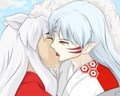 аниме, inuyasha, инуяша, сешоумару, поцелуй, братья