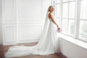 девушки, - невесты, невеста, фата, свадебное, платье, букет