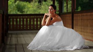 девушки, - невесты, невеста, свадебное, платье, поза