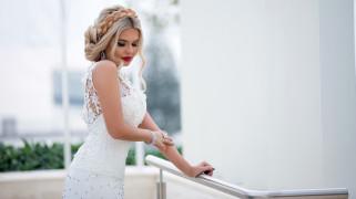 девушки, - невесты, невеста, кружевное, свадебное, платье, коса