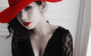 девушки, - лица,  портреты, шляпа, азиатка, лицо