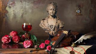 цветы, розы, скрипка, бутоны, бюст, часы, бокал