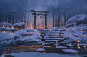 аниме, зима,  новый год,  рождество, ночь