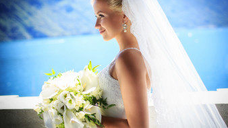 девушки, - невесты, свадебное, платье, невеста, букет, фата