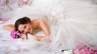 девушки, - невесты, свадебное, платье, невеста, пионы, улыбка