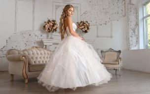 девушки, - невесты, свадебное, платье, невеста, букеты