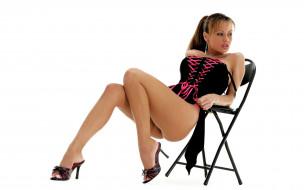девушки, crissy moran, шатенка, боди, каблуки, стул