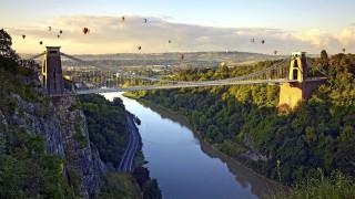 обои для рабочего стола 1920x1080 авиация, воздушные шары дирижабли, река, мост, воздушные, шары, полет